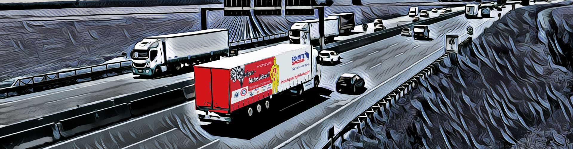 5 tengelyen kamion autópályán