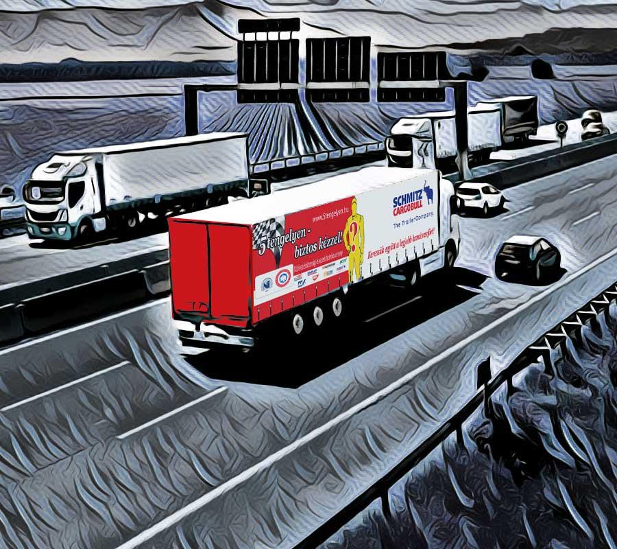 % tengelyenes kamion autópályán